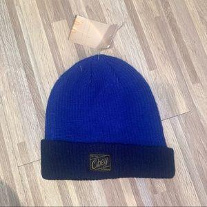 NWT OBEY BLUE BEANIE HAT